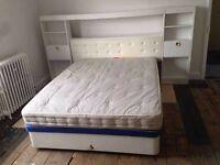 Slumberland 4 drawer double divan bed with headboard unit