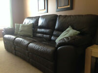 Leather Chocolate Brown Reclining Couch