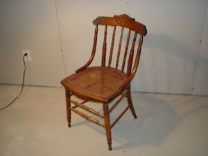 Antique Rattan Seat Side Chair