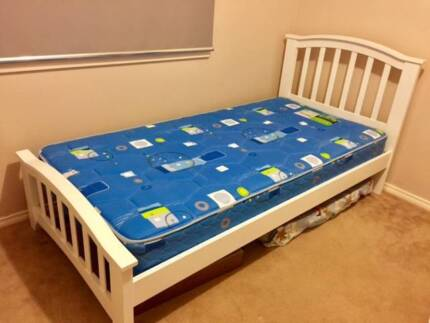 White Single Bed Frame with Mattress - Like NEW!!!!