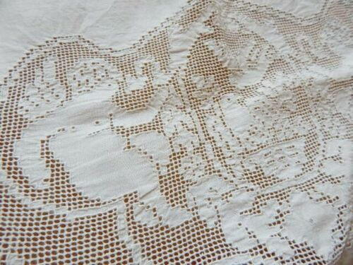 Antique Linen Euro Pillow Layover w Cherubs Doves & Roses Filet Lace