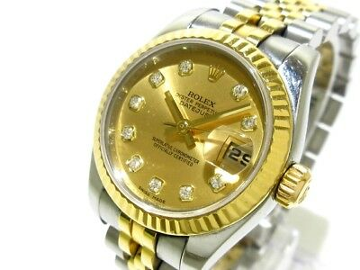 Auth ROLEX Datejust 179173G Gold 18K Yellow Gold Silver M003817