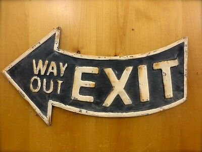 """ANTIQUE-STYLE BLACK METAL """"EXIT WAY OUT"""" ARROW WALL SIGN 21"""" man cave vintage"""
