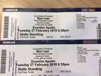 Bon Iver, 2 x standing stalls tickets, Tues Feb 27