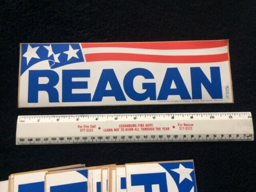 1980 RONALD REAGAN For President Campaign BUMPER STICKER Original Pinback - RARE