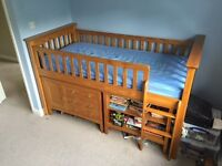 M&S Hastings Sleepstation - Childs Pine Bed with Desk, Draws and Shelf unit