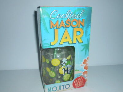 MOJITO - Cocktail Mason Jar - Drinking Glass With Lid And Straw / NEW