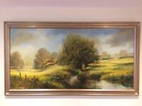 Ted Dyer - Cornish Artist Oil on 4ft x 2ft canvass framed.