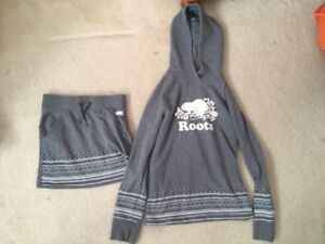 girls grey roots hoodie size 11/12  and matching skirt size 10