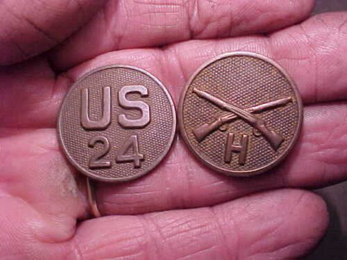 24th Infantry collar discs found Columbus NM-Buffalo soldiers-Mexican Border