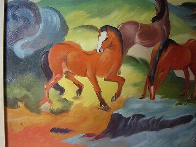 Ölbild Handgemalt auf Leinwand ROTE PFERDE - FRANZ MARC, sign.s. Bild, 60x50cm