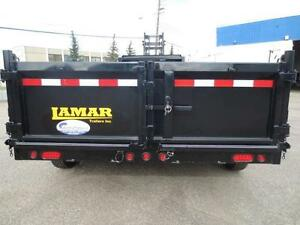 16' LAMAR G/N DUMP TRAILER, SPREADER GATE, SLIDE IN RAMP, TARP