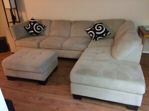 MICRO SUEDE COUCH AND MATCHING OTTOMAN
