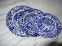 Spode Blue Italian Plates, two small, medium and large