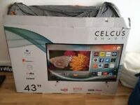 £210 - 43inch CELCUS SMART TV - Used, but super new condition - Netflix, BBC Iplayer Apps