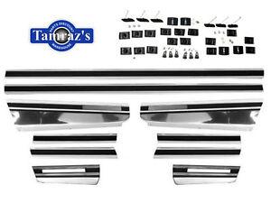 70-72 Monte Carlo Fender Quarter Door Body Side Chrome Trim Moldings w/ Hdw KIT