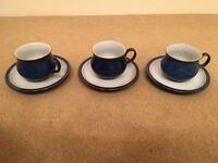 3x Teacup 4x Saucer Current Denby Imperial Blue China Crockery
