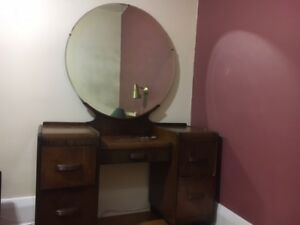 Vintage Vanity With Mirror Solid Wood