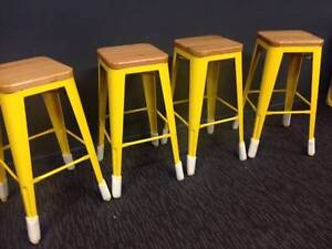 4 x NEW REPLICA XAVIER PAUCHARD 76CM YELLOW TOLIX STOOLS OAK SEAT Woolloongabba Brisbane South West Preview