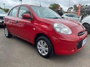 2011 Nissan Micra K13 ST Red 4 Speed Automatic Hatchback