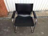 Real leather and metal chrome Office Chair for sale