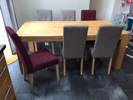 Harvey's Lindos dining table - 6 seater - and 6 Lucy chairs - NOW REDUCED - £400