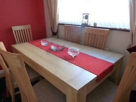 Matching Dining table & 6 chairs and Glass display cabinet, from Harveys, Excellent condition