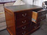 mahogany desk/filing cabinet