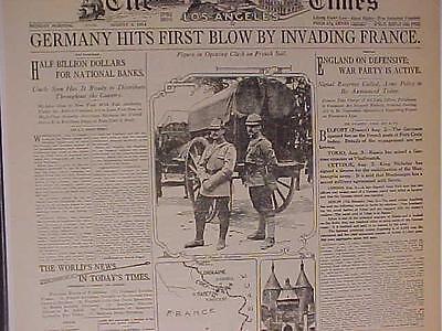 VINTAGE NEWSPAPER HEADLINE ~WORLD WAR ONE GERMAN ARMY INVASION FRANCE START WWI~