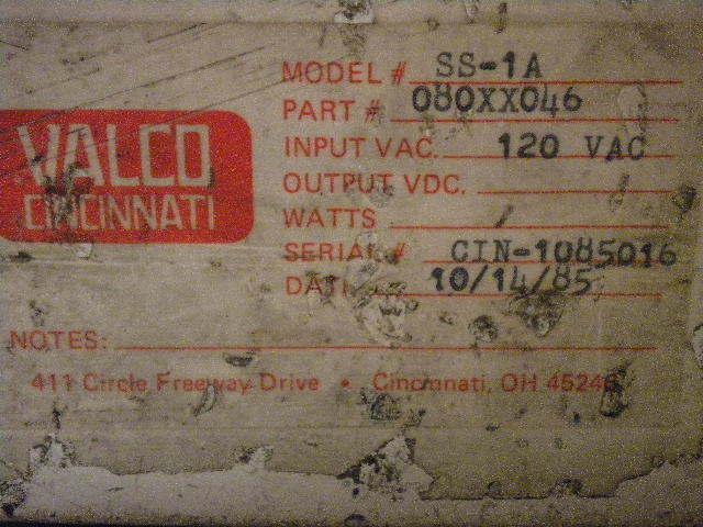 VALCO CINCINNATI SS-1A CONTROL 080XX046