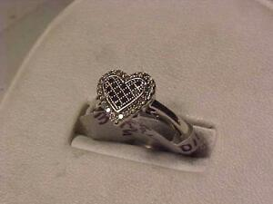 #3188-WHITE GOLD HEART DIAMOND-BLACK & WHITE DIAMONDS HEART SHAPED RING SIZE 5-SELL $135.00-SHIP IN CANADA-S/H-$7.50