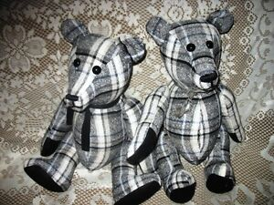 "19"" PLAID CHECK BLACK AND WHITE JOINTED TEDDY BEAR"