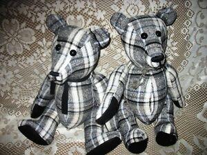 "19"" WINDOWPANE PLAID BLACK AND WHITE JOINTED TEDDY BEARS"