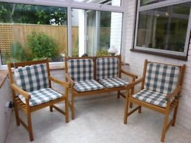 Hard wood bench and chairs with cushions for Garden/ Conservatory