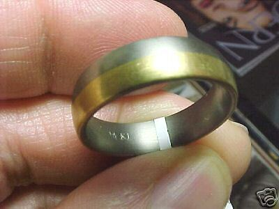 18k Gold & Titanium  Ring Band 6 Mm  Size 9  New Woo