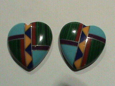 Large Mosaic Heart Cabs Sterling Turquoise Coral Malachite Southwest Motif (155