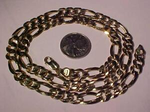 "#7000 HUGE 14K YELLOW GOLD **FIGARO LINK** CHAIN -Lobster Claw Closure-24""-60 Grams-professionally polished free S/H"