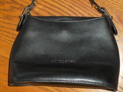 Lancaster Paris Black Leather Handbag Satchel Purse Tote Bag