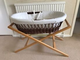 Moses Basket (brown wicker) with mattress and stand *REDUCED PRICE* - Excellent Condition