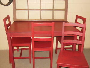 wood table and chairs in red London Ontario image 7