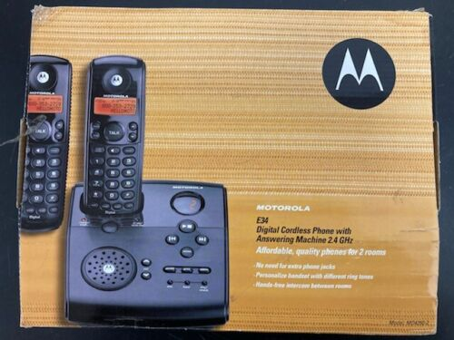Motorola E34 Digital Cordless Phone with Answering Machine - Two Handsets