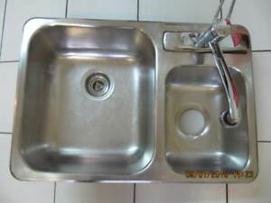 "Classic Moen Kitchen Tap and Double Sink 27""x18"" X Condition!!!!"