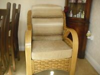 Cane high backed 2 seater sofa and 2 chaiirs with matching glass top cane table