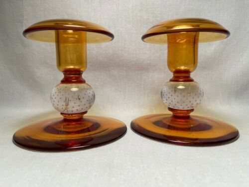 Pairpoint Control Bubble Amber Candlesticks