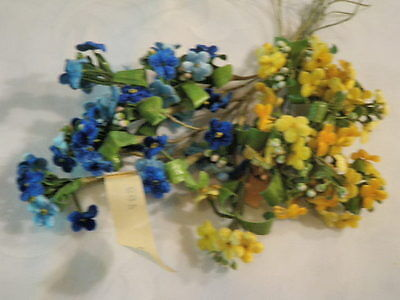 "Vtg Millinery Flower Collection 3/4"" Velvet Forget Me Not Blue German Yell H1532"