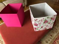 8 pink and floral Drona stoage boxes (ikea)