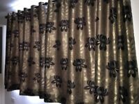 Stunning Pair Of Lined Curtains And Curtain Pole