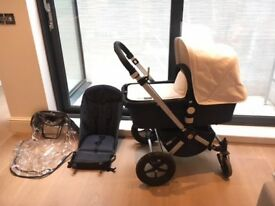 Bugaboo Cameleon complete pushchair and carrycot in denim & beige with winter/summer accessories