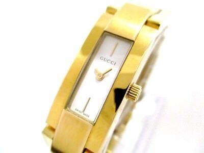 Auth GUCCI 4600L Gold, White 0007772 Women