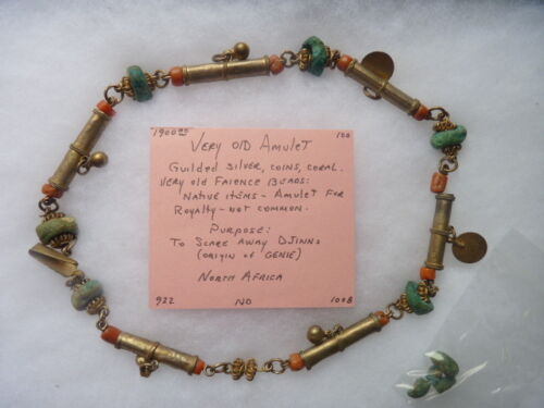 Very Old North African Royalty Amulet Gilded Silver, Coins, Coral, Faience Bead